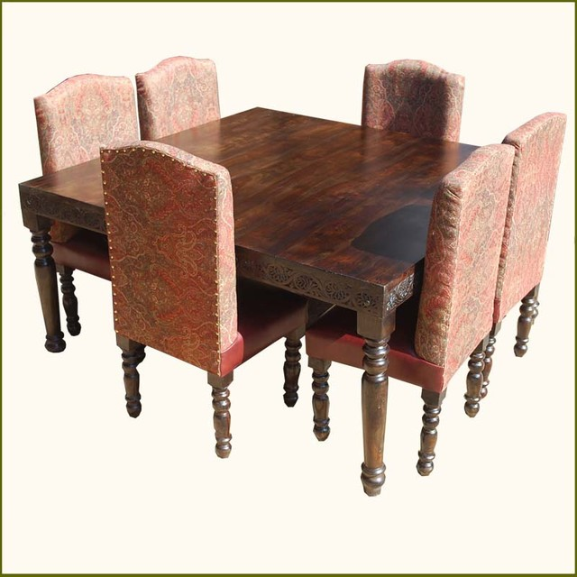 Nottingham Transitional Leather 7Pc Square Table Dining Set traditional