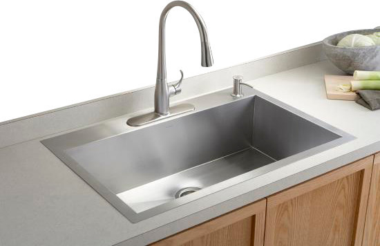 KOHLER Vault Large Single Kitchen Sink with Single-Hole Faucet Drilling contemporary-kitchen-sinks
