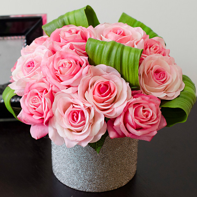Real Touch Pink Roses Faux Arrangements amp Centerpieces For