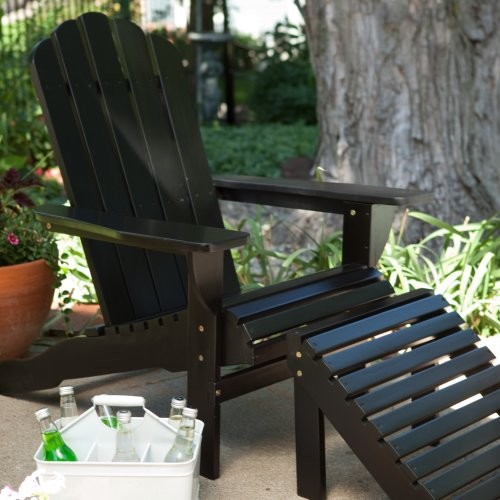Shoreline Deluxe Adirondack Chair and Ottoman Set - Black contemporary-outdoor-lounge-chairs