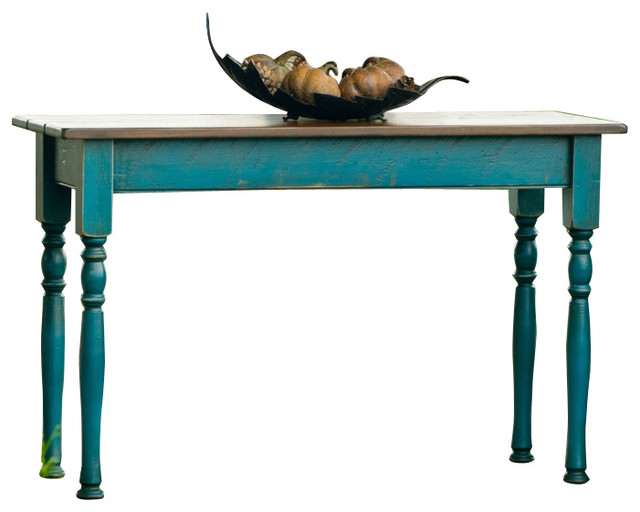 Designs in wood peacock blue walnut sofa table eclectic for Peacock coffee table