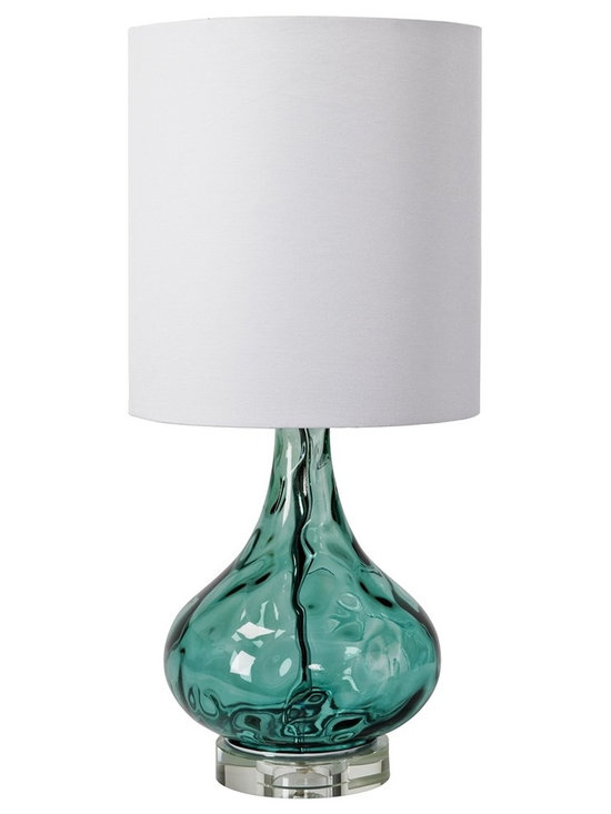 """Regina Andrew - Regina-Andrew Peacock Blue Gem Table Lamp - From Regina-Andrew comes this gorgeous and on-trend table lamp design. The base features a beautiful blue gem finish that adds depth and striking visual interest. Topped with a tall lamp shade for added height. Blue table lamp. Round clear base. Uno lamp shade. Maximum 100 watt or equivalent bulb (not included). 3-way switch. Shade measures 12"""" across the top and bottom 13"""" high. 12"""" wide. 24 1/2"""" high.   Blue table lamp.  Round clear base.  Uno lamp shade.  Maximum 100 watt or equivalent bulb (not included).  3-way switch.  Shade measures 12"""" across the top and bottom 13"""" high.  12"""" wide.  24 1/2"""" high."""