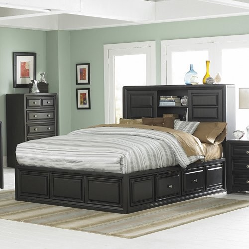 Abel Bookcase Storage Platform Bed Set traditional-beds