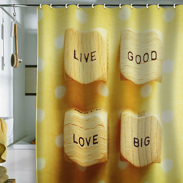 ... Happee Monkee Live Good Love Big Shower Curtain eclectic-showers