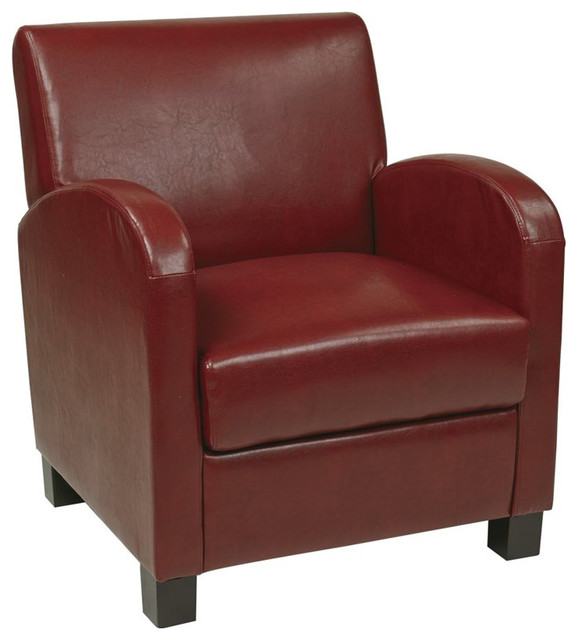 Office Star Metro Eco Leather Club Chair In Crimson Red Transitional Armc