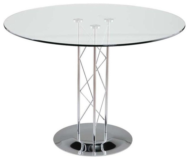 Round Glass Dining Table W Chrome Base Modern Dining Tables By