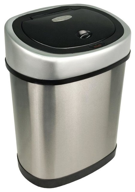 Bathroom motion detector trash can modern wastebaskets for Bathroom garbage can