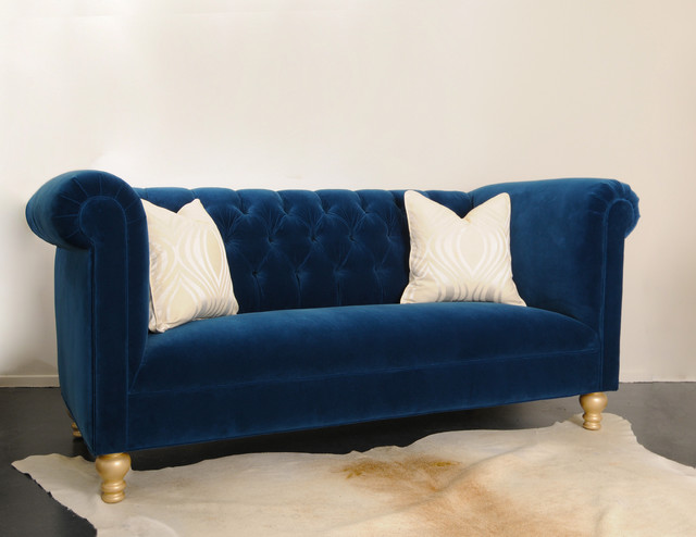 Cobalt Blue Hand Tufted Sofa Contemporary Sofas Los