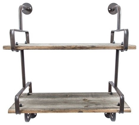 Industrial Wood Wall Shelf Rustic Display And