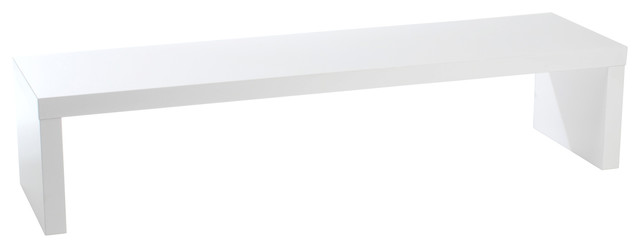 """Madison Media Bench (W: 59"""") - White Lacquer modern-upholstered-benches"""