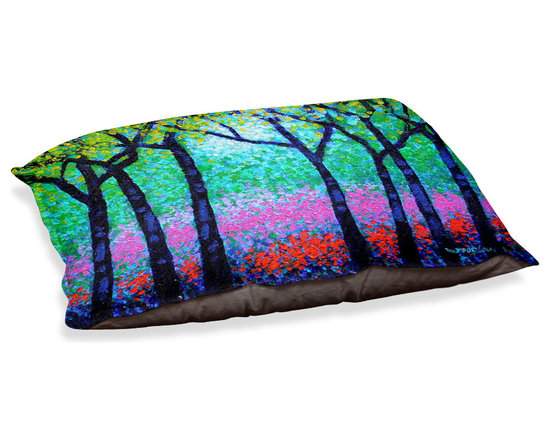 "DiaNoche Designs - Dog Pet Bed Fleece - Spring Woodland - DiaNoche Designs works with artists from around the world to bring unique, designer products to decorate all aspects of your home.  Our artistic Pet Beds will be the talk of every guest to visit your home!  BARK! BARK! BARK!  MEOW...  Meow...  Reallly means, ""Hey everybody!  Look at my cool bed!  Our Pet Beds are topped with a snuggly fuzzy coral fleece and a durable indoor our underside material.  Machine Wash upon arrival for maximum softness.  Made in USA."