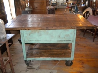 Green Wooden Cart Traditional Kitchen Islands And