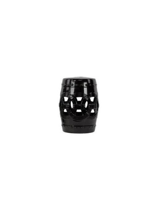 Urban Trends UTC23204 Ceramic Garden Stool, Black -