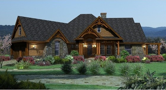 House plan 120 162 rustic exterior elevation by for 162 plan