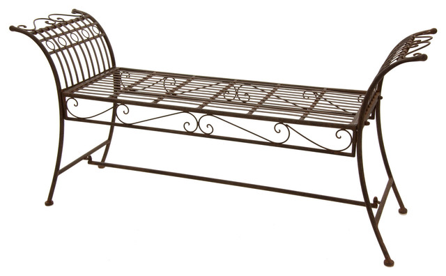 Rustic Decorative Garden Bench Rust Patina Traditional Outdoor Benches