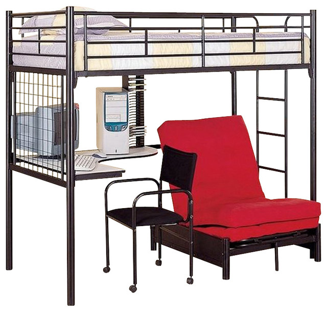 metal bunk bed with desk in black finish transitional beds other
