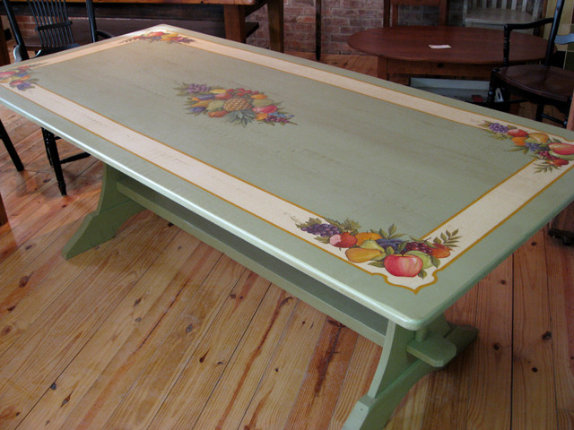 Reclaimed Wood Table With Painted Artwork Farmhouse