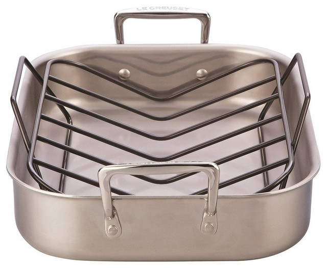 le creuset large stainless steel roasting pan and rack set traditional roasting pans and. Black Bedroom Furniture Sets. Home Design Ideas