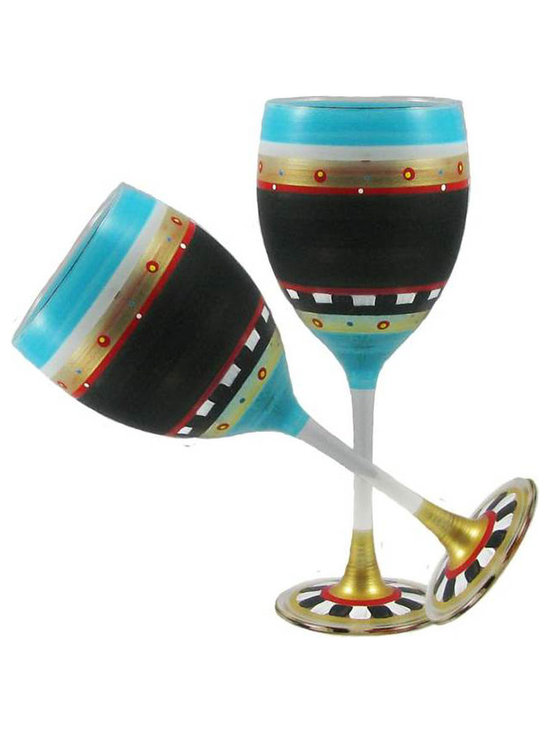 Golden Hill Studio - Mosaic Chalk Wine Glasses Set of 2 - A more pleasing palette you'd be hard-pressed to find. This artistic mix of dramatic dark with brilliant primary colors is the perfect combination to decorate a distinctive wine glass. Each one is hand-painted in delicate patterns that can only enhance the experience of your favorite vintage on your own palate.