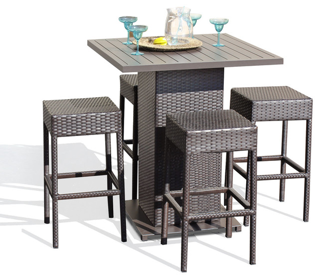 Venus Pub Table Set With Backless Barstools Outdoor Wicker Patio Furniture Contemporary