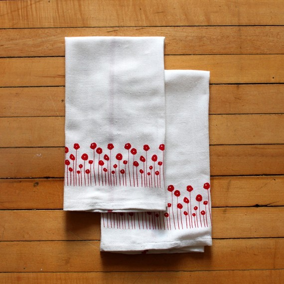 Screenprinted Dish Towels with Red Poppies by Michelle Brusegaard modern-dish-towels