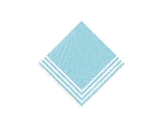 Turquoise Stripe Border Paper Cocktail Napkins -