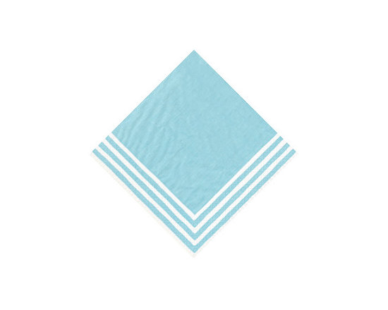 Turquoise Stripe Border Paper Cocktail Napkins -