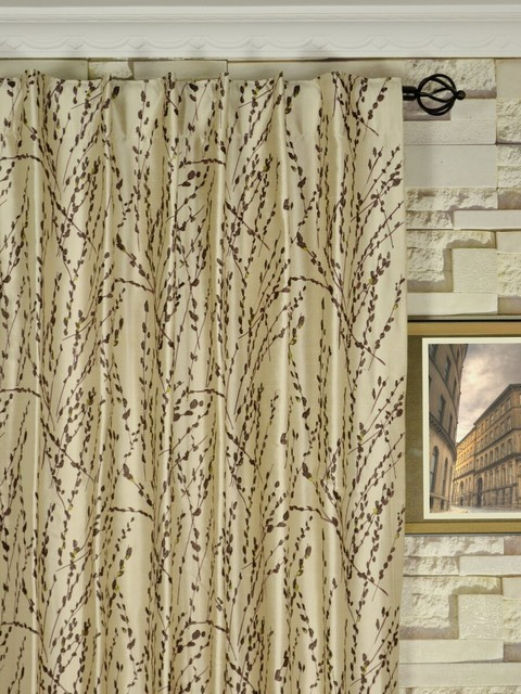 Neutral trendy embroidered plants back tab dupioni silk Trendy curtains