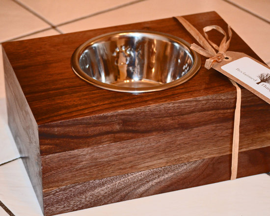 Reclaimed Wood Pet Feeder - Reclaimed wood raised dog feeder - promotes healthy digestion. Contact Reclaimed Things for more information at info@reclaimedthings.com