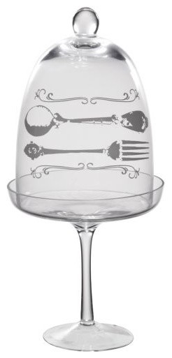 Glass Cupcake Stand with Fork & Spoon Decal traditional-serveware