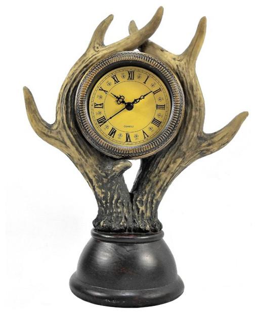 Rustic Table Clock: Deer Antler Table Clock