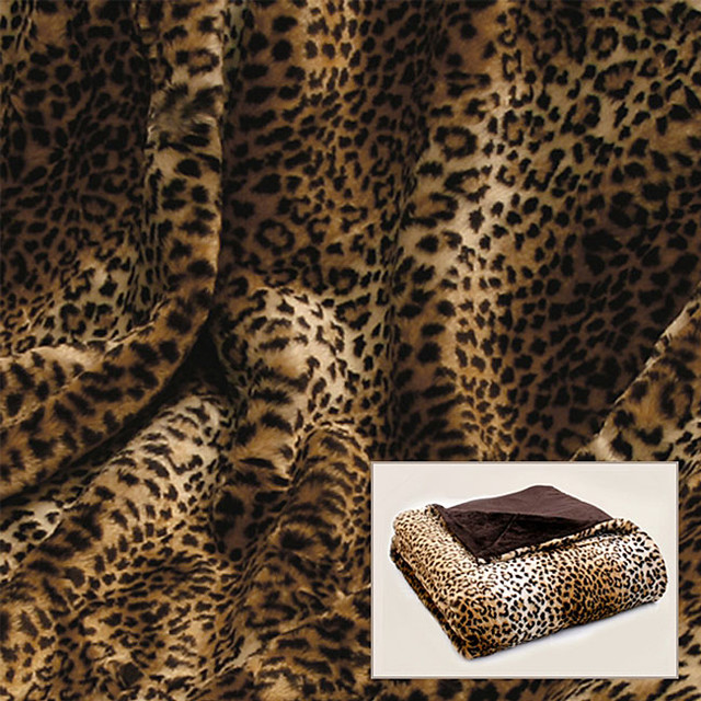 Leopard Print Faux Fur Throw Contemporary Throws By