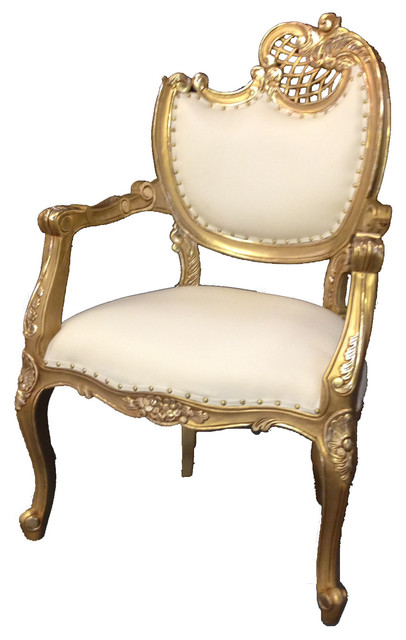 French Style Arm Chair Gold White Traditional
