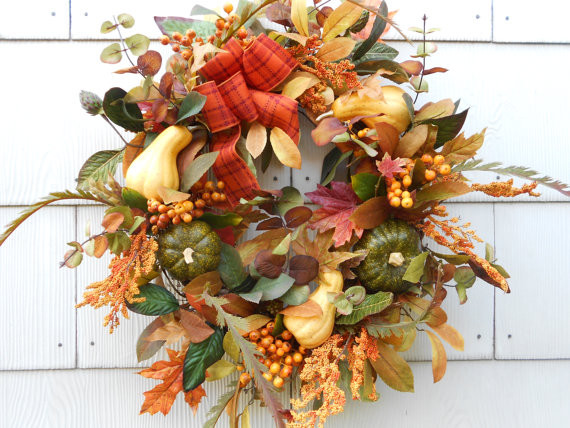 Harvest Fall Wreath by DeLaFleur contemporary-outdoor-holiday-decorations