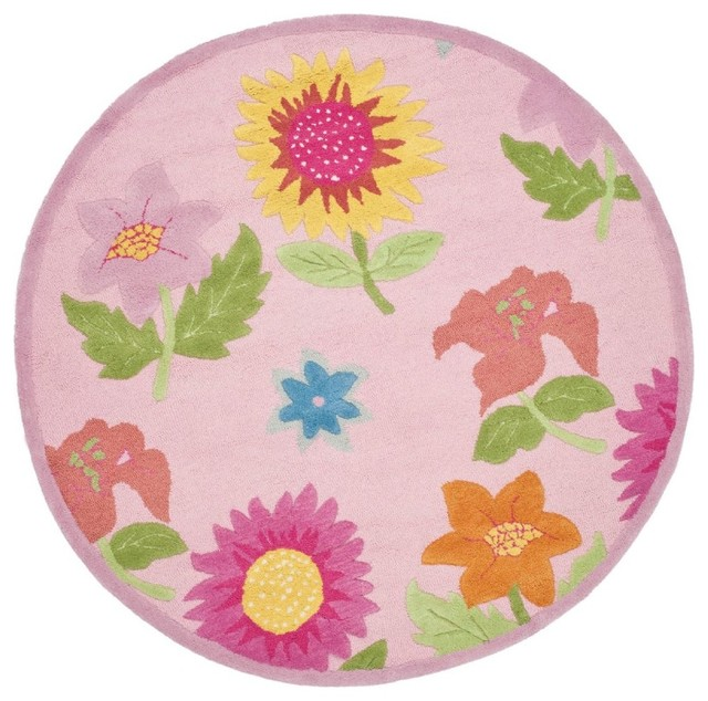 Kids safavieh kids round 6 39 round pink pink area rug for Round rugs for kids