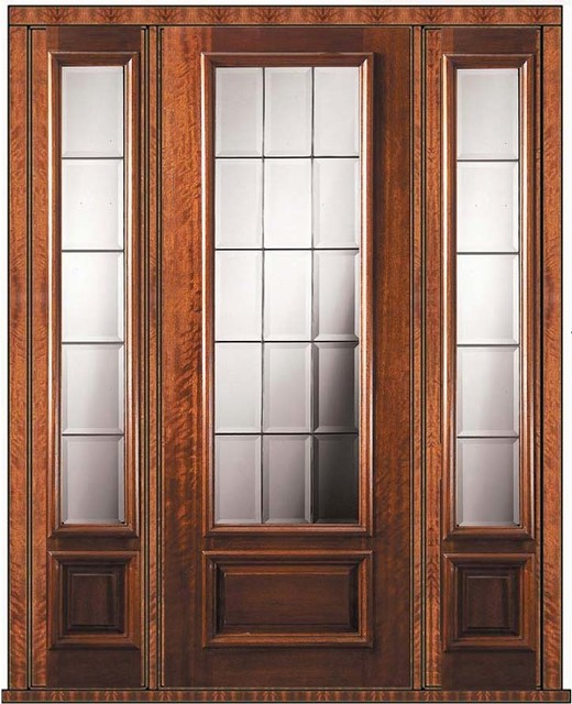 Prehung French Side Lights Door 96 Mahogany French 3 4