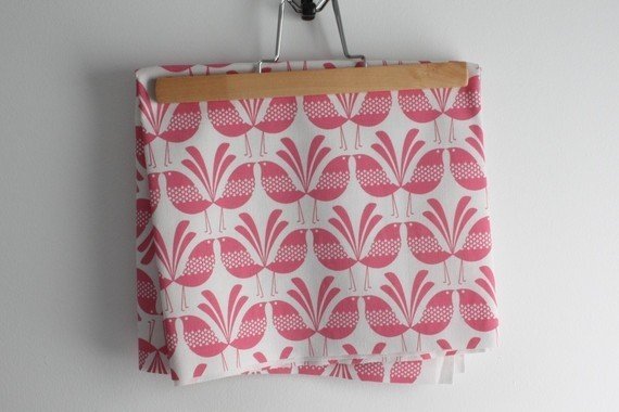 Belbird Design, Hand Screen Printed Fabric in Pink by Melissa Bombardiere modern-fabric