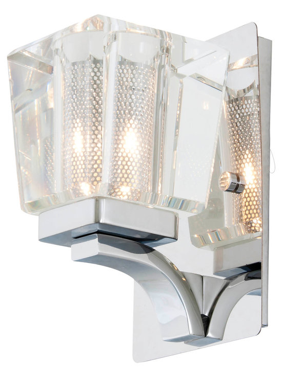 DVI Lighting - Beausoleil Bath Bar - Beausoleil Bath Bar features Crystal glass with a mesh inside and Chrome finish. Available in 1, 3, and 4 light options. 60 watt, 120 volt JCD type G9 base halogen bulbs are required, but not included.  1 Light: 4.875 inch width x 7.5 inch height x 5 inch depth. 3 Light: 21.5 inch width x 7.5 inch height x 5 inch depth. 4 Light: 35.5 inch width x 7.5 inch height x 5 inch depth.