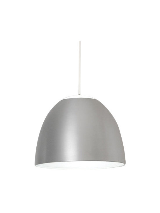 Artemide - Artemide Dome 14 pendant light - The Dome pendant light fromRezek by Artemide has been designed by Ernesto Gismondi in 2005. This suspension mounted luminaire is great for direct and indirect incandescent lighting. The Dome is composed of a dome shaped diffuser in spun aluminum available in a small or large size and also comes available in a variety of color options. The diffuser when in a natural anodized finish, comes available with a frosted glass lens at the top of the light that is available in white, amber, indigo and red. The diffuser also comes with the option of a colored anodized finish in charcoal grey, yellow or turquoise with a white frosted lens at the top of the diffuser. The diffuser, when in a colored finish, has an inner white reflective coating. The Dome pendant light exhibits a unique and versatile design, along with quality craftsmanship, that is sure to brilliantly illuminate any modern environment. UL listed.  Product Details:  The Dome pendant light fromRezek by Artemide has been designed by Ernesto Gismondi in 2005. This suspension mounted luminaire is great for direct and indirect incandescent lighting. The Dome is composed of a dome shaped diffuser in spun aluminum available in a small or large size and also comes available in a variety of color options. The diffuser when in a natural anodized finish, comes available with a frosted glass lens at the top of the light that is available in white, amber, indigo and red. The diffuser also comes with the option of a colored anodized finish in charcoal grey, yellow or turquoise with a white frosted lens at the top of the diffuser. The diffuser, when in a colored finish, has an inner white reflective coating. The Dome pendant light exhibits a unique and versatile design, along with quality craftsmanship, that is sure to brilliantly illuminate any modern environment. UL listed. The E26 base allows for various lamping options. Details:                         Manufacturer:             Art