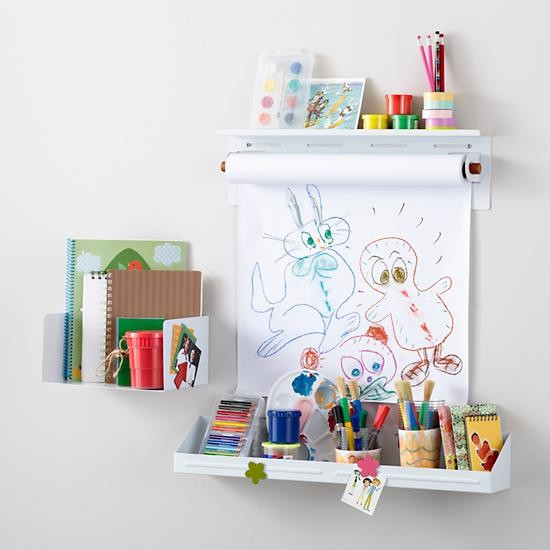 Up against the wall shelf bin and paper holder white for Wall shelves kids room
