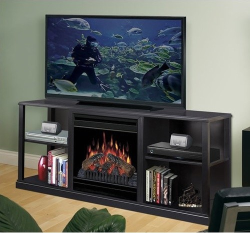 61 Cornet Tv Stand With Electric Fireplace Modern Indoor Fireplaces By Allmodern