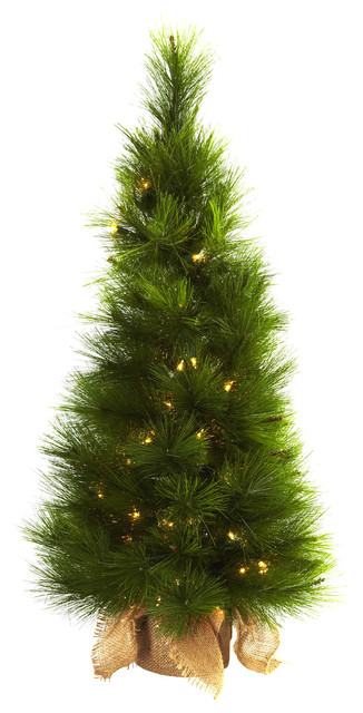 Nearly Natural 3' Christmas Tree with Burlap Bag and Clear Lights traditional-christmas-trees