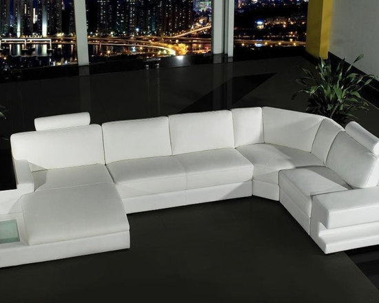 Orion Modern - White Leather Sofa Set - VG2T0557SAL - This contemporary white leather sectional sofa is a glamorous addition to any living space. It has headrests for extra head support and includes a light, which is powered by a battery and can be turned on and off with a simple flip of a switch.