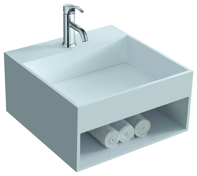 Stone Resin Sink : ADM Matte White Wall Hung Stone Resin Sink contemporary-bathroom-sinks