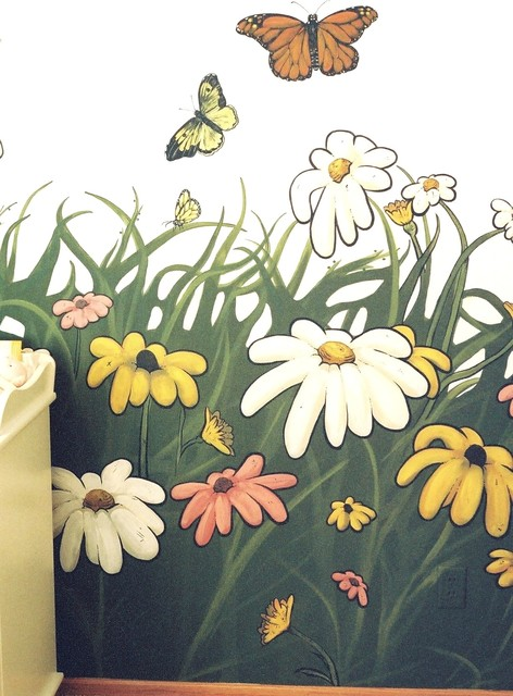 Flowers and Bugs Themed Mural in a Nursery by Tom Taylor of Wow Effects traditional-kids