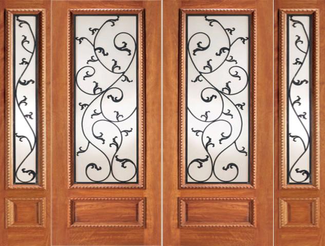 Mahogany Prehung Double Door Two Sidelites, Leaf design Ironwork Glass mediterranean-front-doors