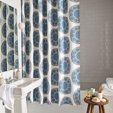 Woodblock Flower Shower Curtain | west elm eclectic shower curtains