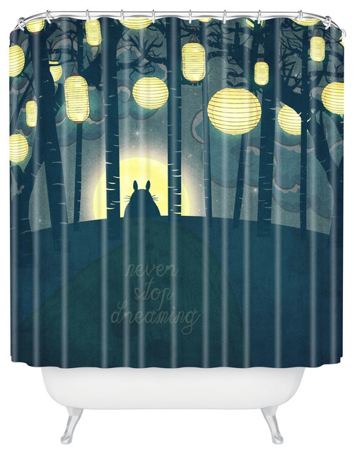 Belle13 Totoros Dream Forest Shower Curtain asian-shower-curtains