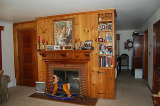 What to do with this knotty Pine fireplace