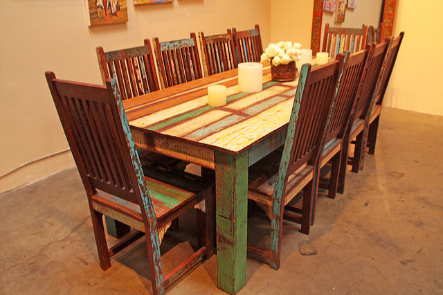 reclaimed wood dining set eclectic dining sets los reclaimed teak wood dining table and chairs set dining